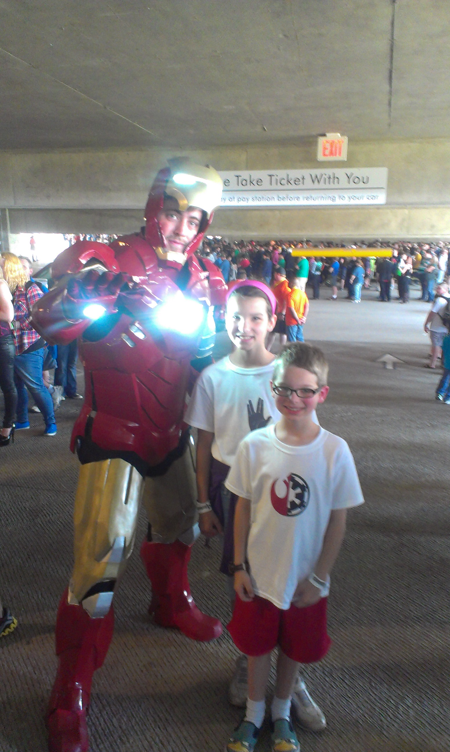 We had a nearly 3 hour wait to get inside the building, but at least Iron Man came by!