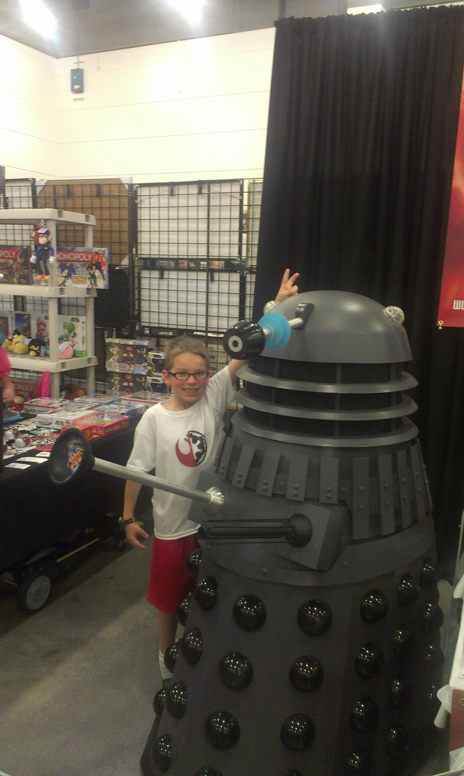 Colby is clearly not worried that the Dalek will exterminate him!