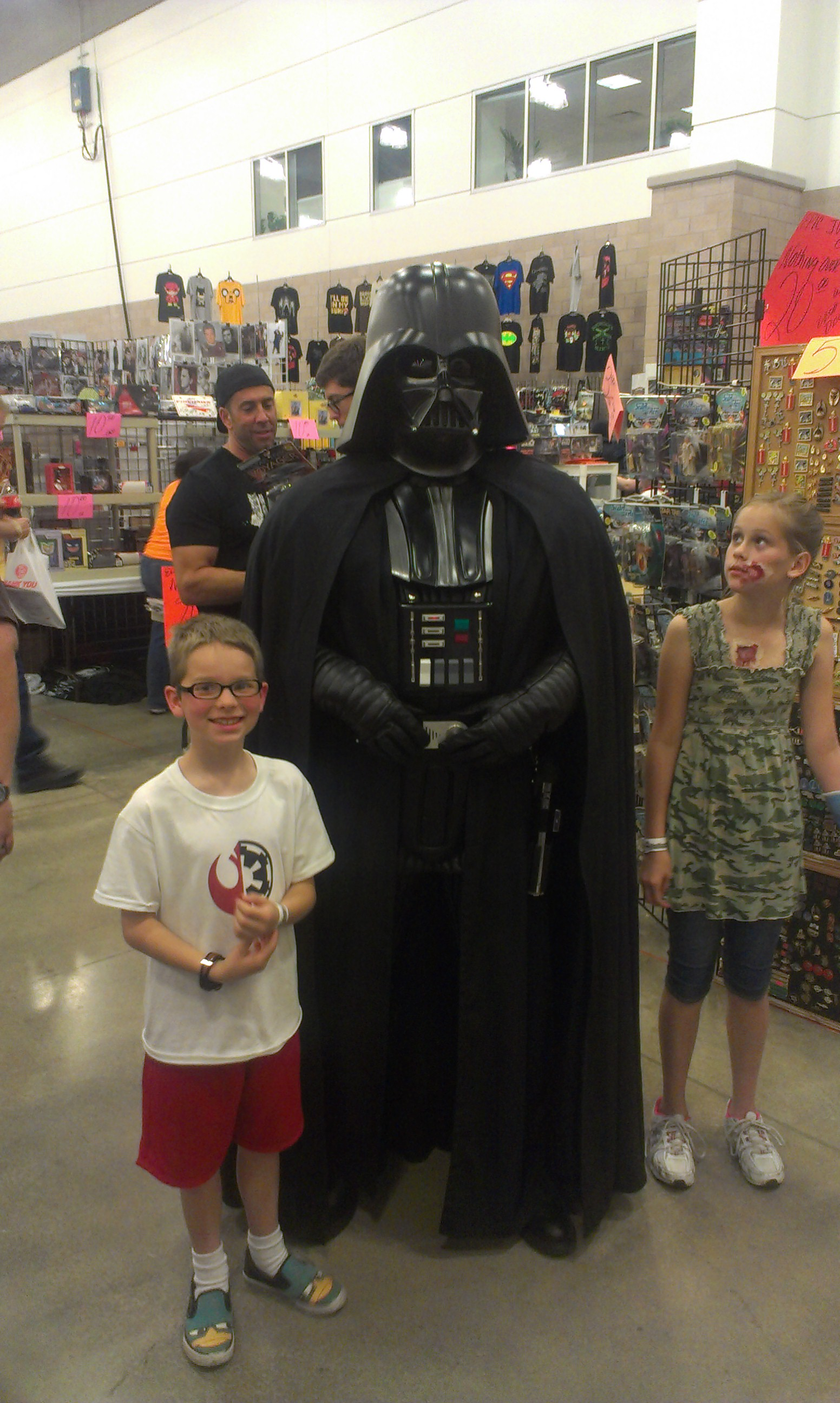Colby wanted to force choke Darth Vader, but it was hard to get a picture b/c a large crowd was gathering around.