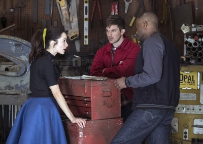Abigail Spencer as Lucy Preston, Matt Lanter as Wyatt Logan, Malcolm Barrett as Rufus Carlin