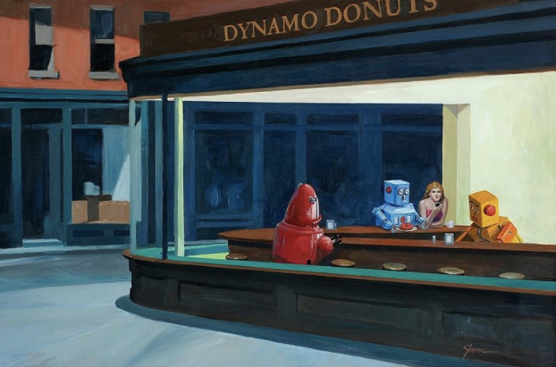 Eric Joyner's Painting A Story of Robots and Donuts