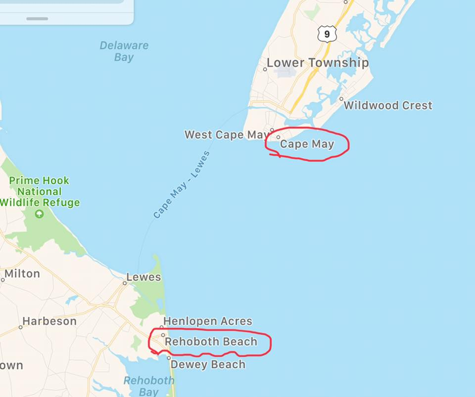 Delaware to Cape May Map