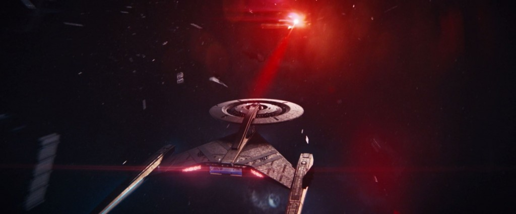 STDP 041 - Star Trek Discovery S2E14 (52:41) - The USS Discovery flying towards the 6th red signal.