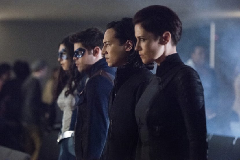 "Supergirl -- ""Back From The Future Ð Part One"" -- Image Number: SPG511B_0316b.jpg -- Pictured (L-R): Nicole Maines as Nia Nal/Dreamer, Jeremy Jordan as Winn Schott, Jesse Rath as Brainiac-5 and Chyler Leigh as Alex Danvers -- Photo: Dean Buscher/The CW -- © 2020 The CW Network, LLC. All rights reserved."
