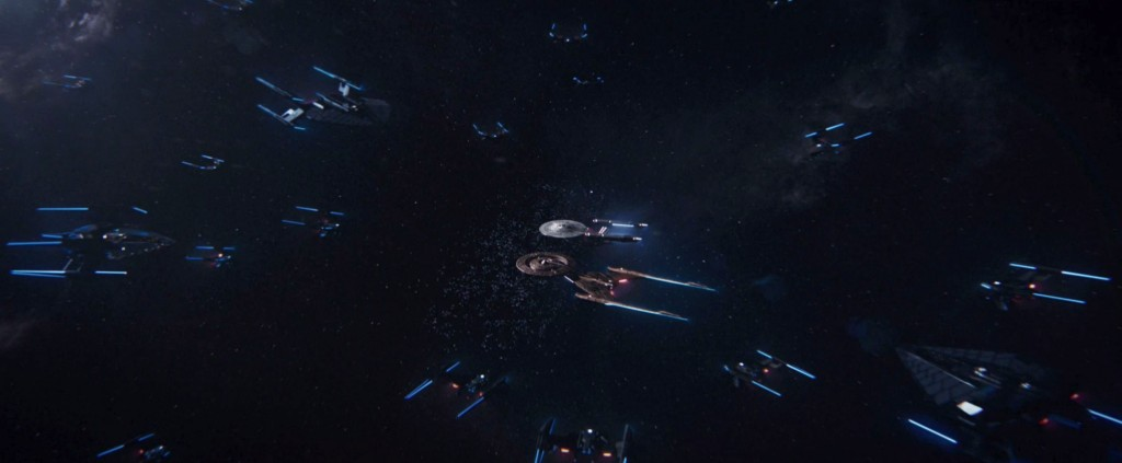 STDP 040 - Star Trek Discovery S2E14 Such Sweet Sorrow, Part 2 (03:11) - U.S.S. Enterprise & U.S.S. Discovery surrounded by Section 31 ships.