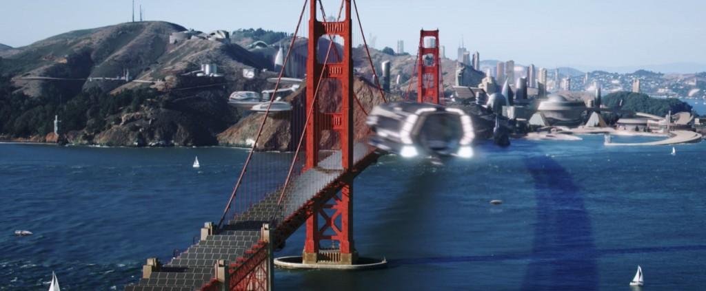 STDP 041 - Star Trek Discovery S2E14 (56:56) - Shuttle flying by the Golden Gate Bridge.